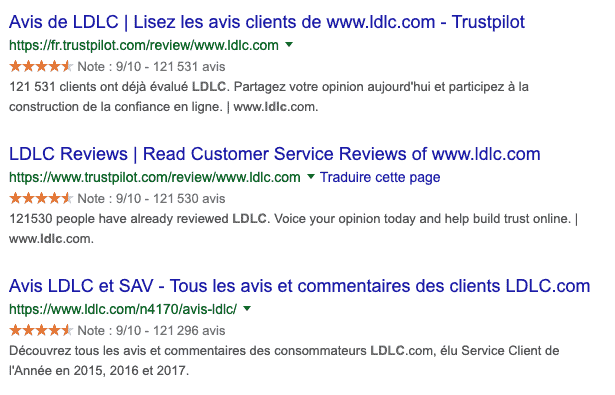 avis consommateurs et e-réputation Google