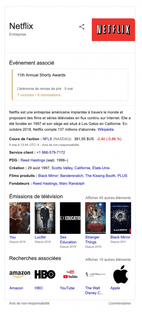 knowledge graph et e-réputation Google