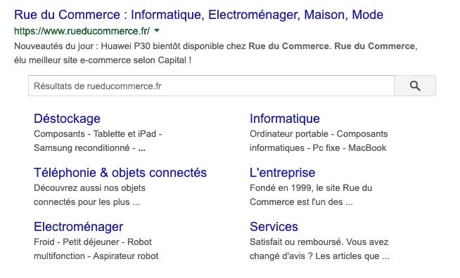 sitelinks et e-réputation Google