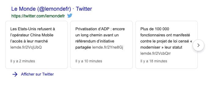twitter et e-réputation Google