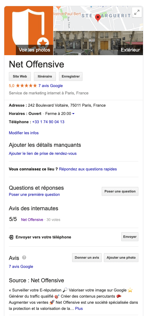La fiche Google My Business de l'Agence Net Offensive