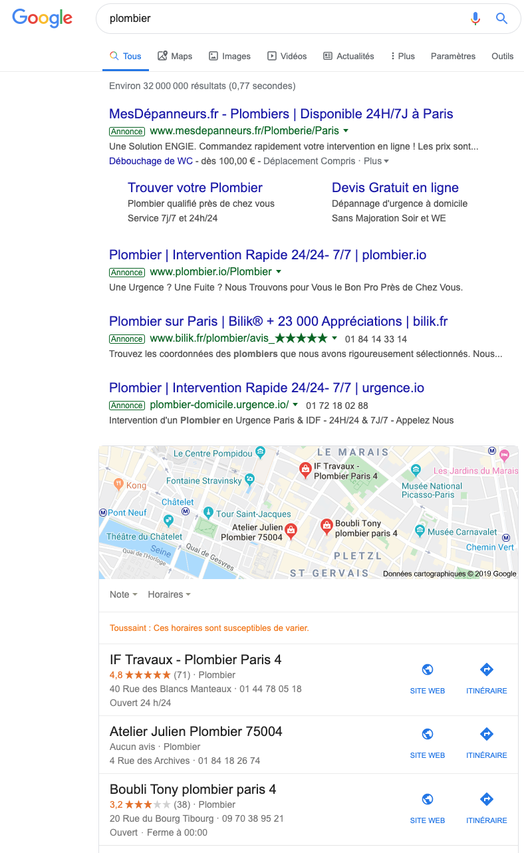 Exemple de positionnement de contenus sur Google