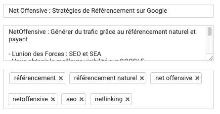 Tags des videos youtube
