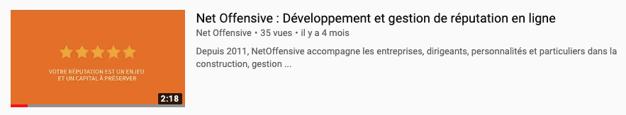 Le titre de la video sur Youtube