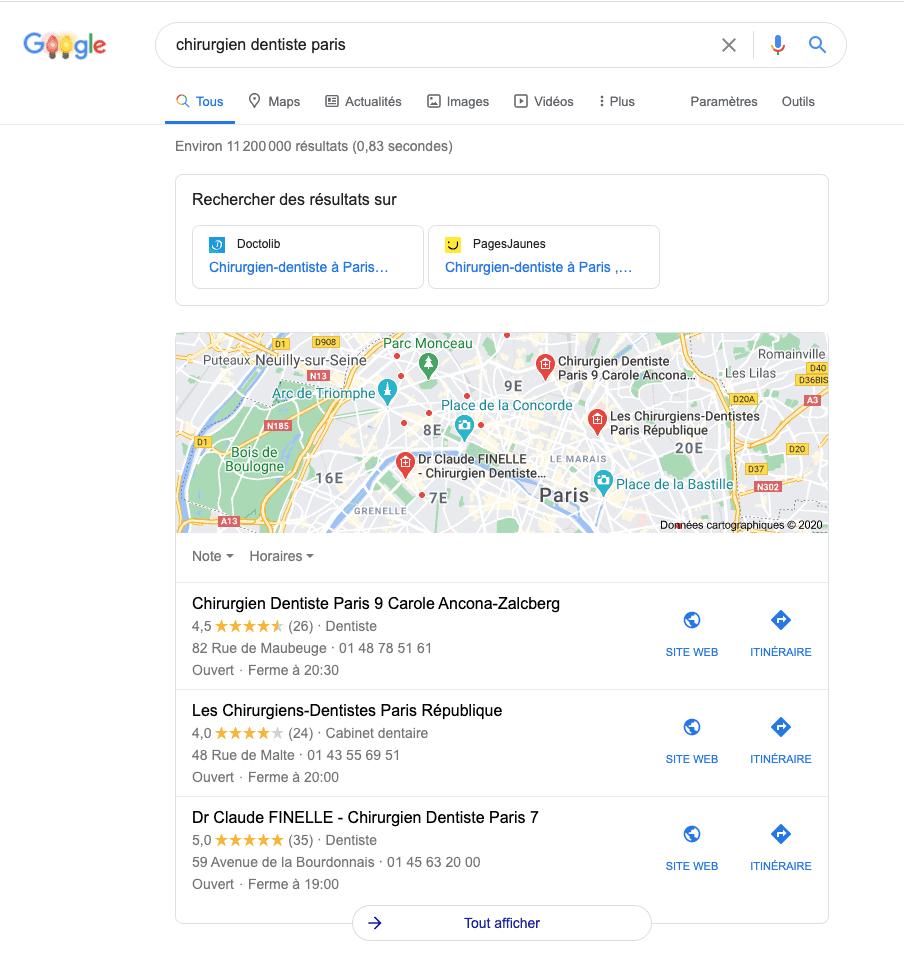 Exemple d'un pack local qui s'affiche dans les résultats Google